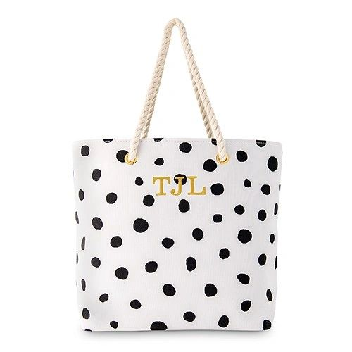 Polka Dot Canvas Tote