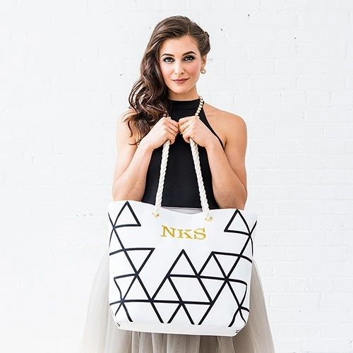 Extra-Large Geo Cotton Fabric Canvas Tote Bag