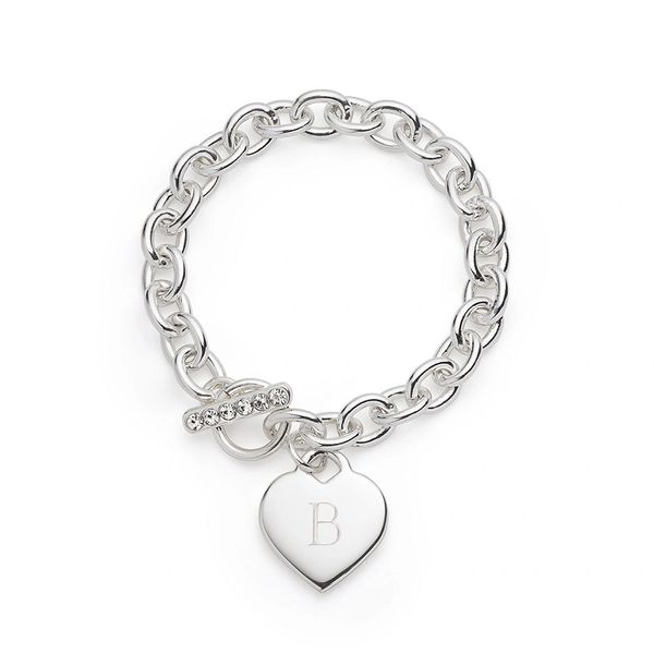 Personalized Silver Heart Bracelet