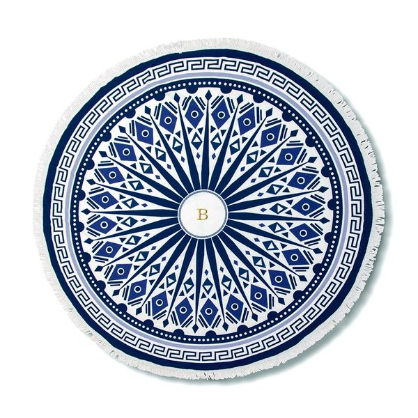 Blue & White Mandala Large Beach Towel