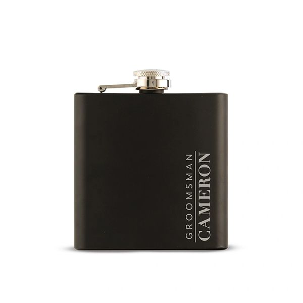 Black Engraved Flask-Groomsman