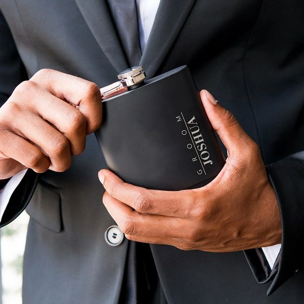 Black Engraved Flask-Groom