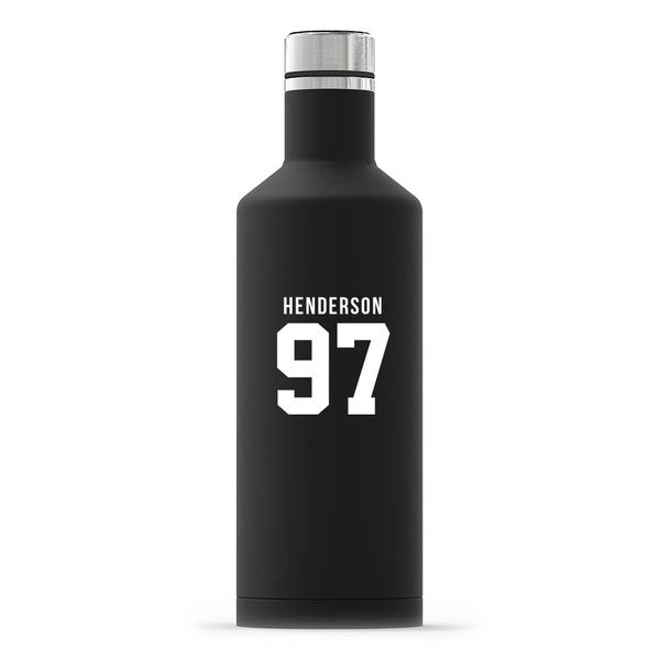 Personalized Black Stainless Steel Insulated Water Bottle – Sports Jersey Print