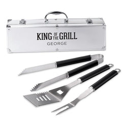 Custom Stainless Steel BBQ Grill Set - King Of The Grill