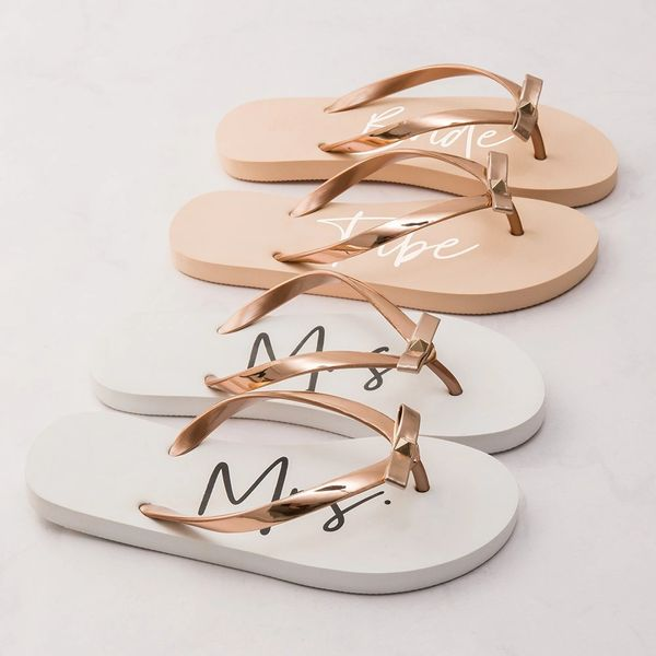 Mrs Rose Gold & White Flip Flop