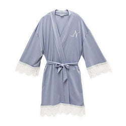 Personalized Jersey Knit Big Girl Robe-Powder Blue