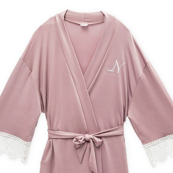 Personalized Jersey Knit Big Girl Robe Mauve Le Chic Designs