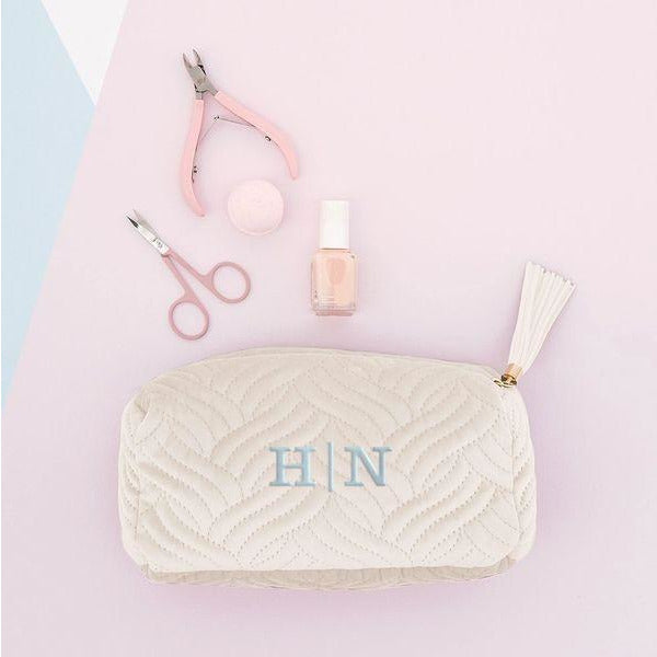 Velvet Quilted Makeup Bag-Ivory