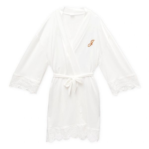Personalized Jersey Knit Ladies Robe White