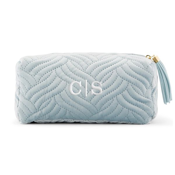 Velvet Quilted Makeup Bag-Sea Blue