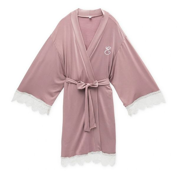 Personalized Jersey Knit Ladies Robe Mauve