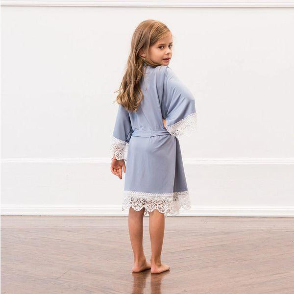 Personalized Jersey Knit Mignon Girl Robe-Powder Blue