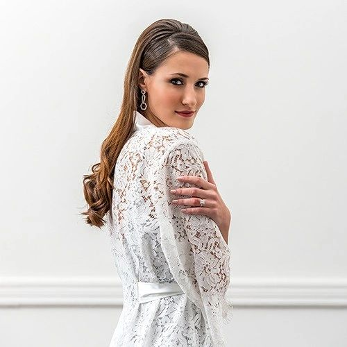 Lola Embroidered Bridal Lace Wedding Robe-White