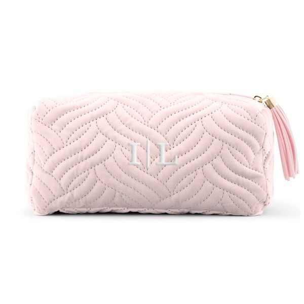 Velvet Quilted Makeup Bag-Baby Pink