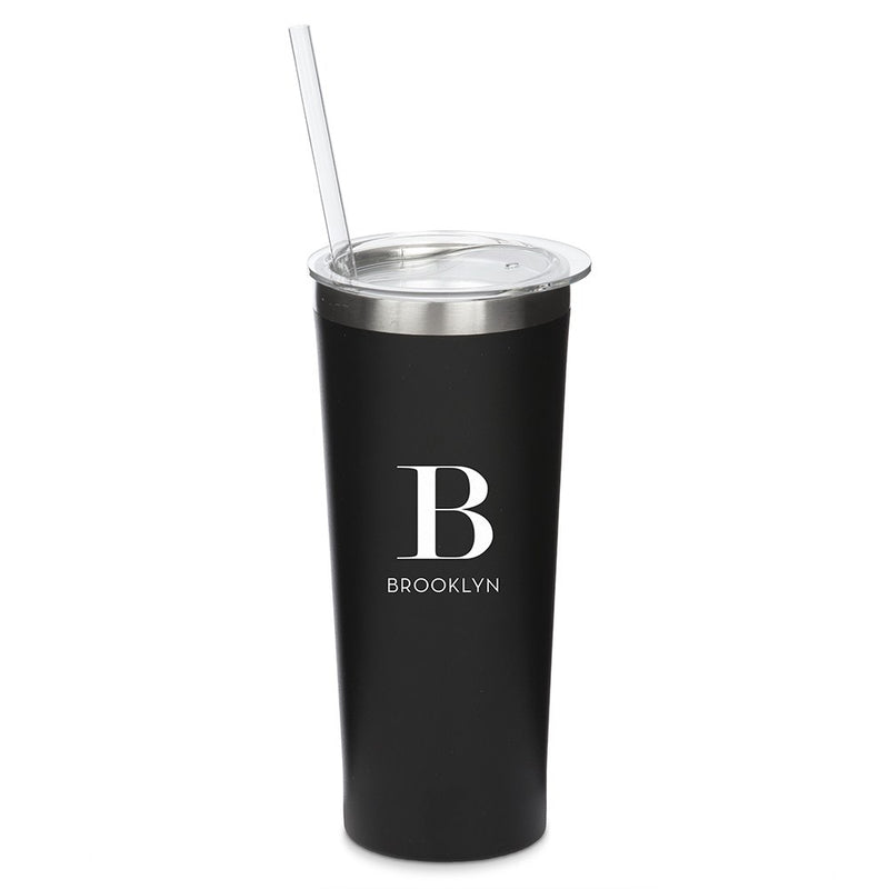 Personalized Black Stainless Steel Drink Tumbler - Modern Serif Monogram Print
