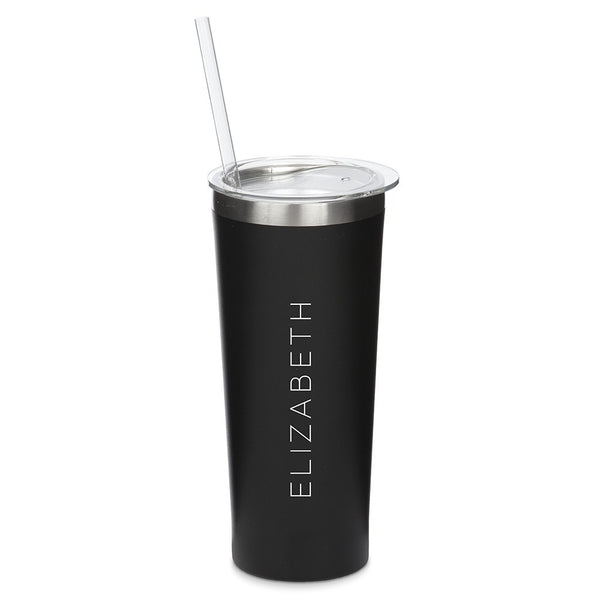 Personalized Black Stainless Steel Drink Tumbler - Contemprary Vertical Print