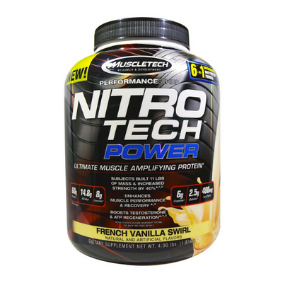 Muscletech, Nitro Tech Power, Ultimate Muscle Amplifying Protein, French Vanilla Swirl, 4.00 lbs (1.81 kg)