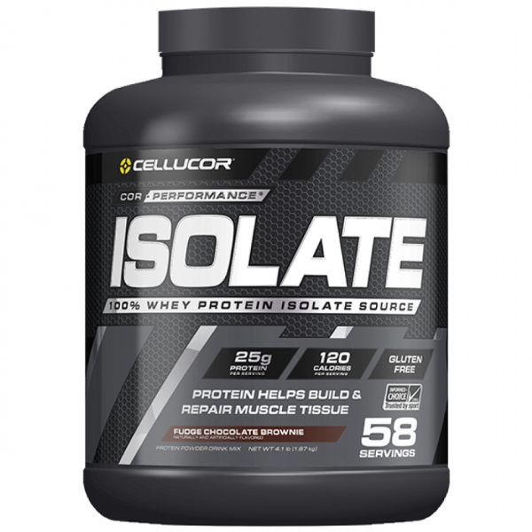 Cellucor, Isolate 100% Whey Protein, Fudge Chocolate Brownie, 4.1 LB (1.87 KG)