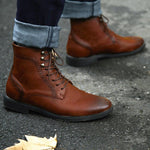 Masorini Men Pu Leather Boots Winter Shoes Fashion Male Lace Up Warm Ankle Boots Men Rivet Brithsh Shoes BRM-053 - Broadwaytrending Shop