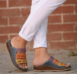 Women Chic Three Color Stitching Sandals - Broadwaytrending Shop