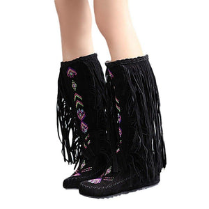 KNEE HIGH NATIVE AMERICAN MOCCASIN BOOTS - INDIAN FRINGE WINTER FASHION BOOTS - Broadwaytrending Shop