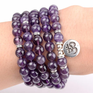 Black Onyx & Amethyst Om Mala Bracelet/Necklace - Broadwaytrending Shop