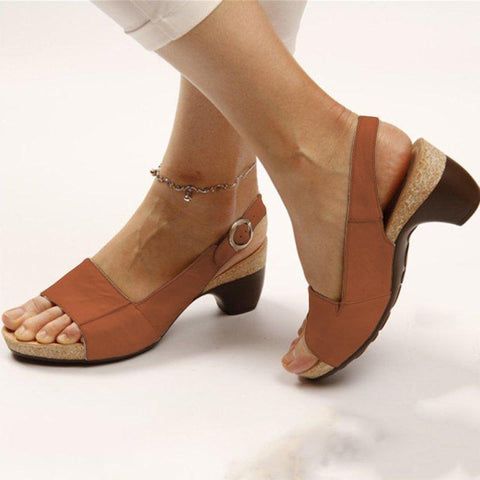 Elegant Comfortable Low Chunky Heel Summer Sandals - Broadwaytrends shop