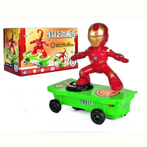 Spiderman/Iron man Scooter Electric Car Stunt Music led Light Toys - Broadwaytrending Shop