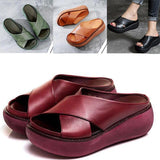 Comfy Soft Leather Platform Thick Heel Beach Sandal Slippers - Broadwaytrends shop