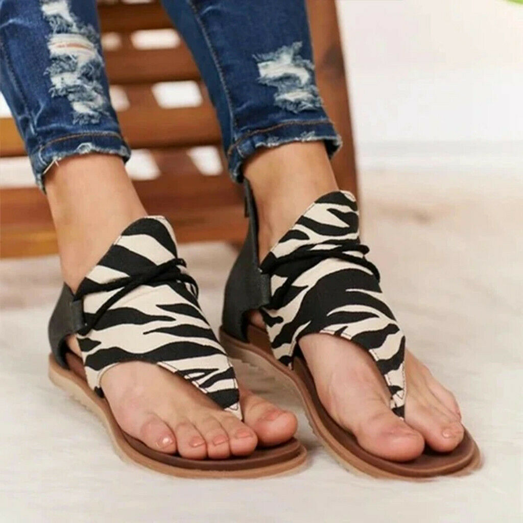 Women's Retro Leopard Zip Flip-flop Sandals - Broadwaytrending Shop