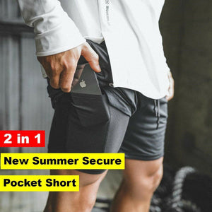 Men's 2 in 1 New Summer Secure Pocket Shorts - Broadwaytrending Shop