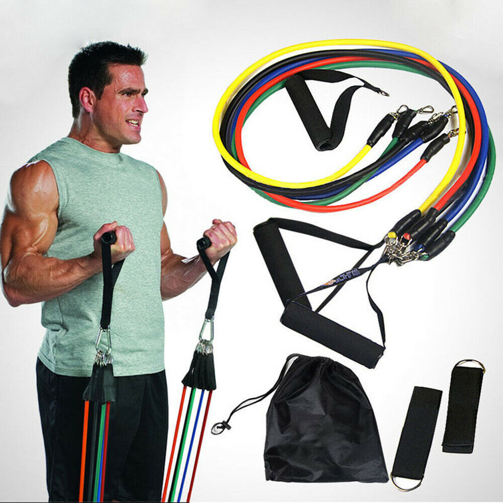 Resistance Bands Set Yoga Exercise Fitness Gym Workout Training - Broadwaytrending Shop