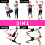 Portable Pilates Bar Stick Fitness Exercise Gym W/Resistance Band - Broadwaytrending Shop