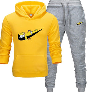 2019 New Fashion Hoodies Men Sport Funny and cuteSweatshirt +Sweatpants Suits Casual Long Sleeve Thick Hoodie clothing Suit