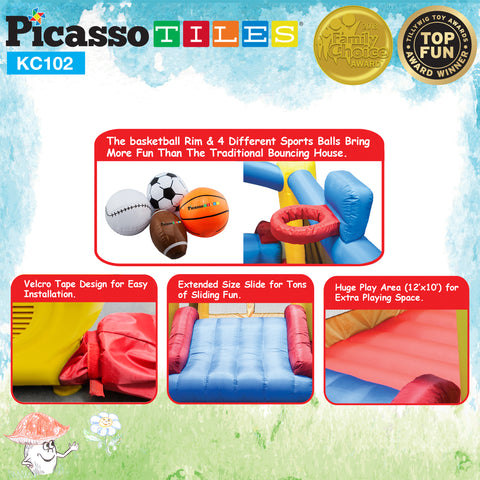 Image of PicassoTiles KC102 Jump & Slide & Dunk Bouncing House
