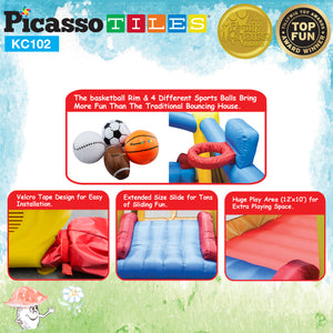 PicassoTiles KC102 Jump & Slide & Dunk Bouncing House
