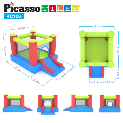 PicassoTiles KC106 Jump & Slide Inflatable Bouncing House (Pit Ball Included)