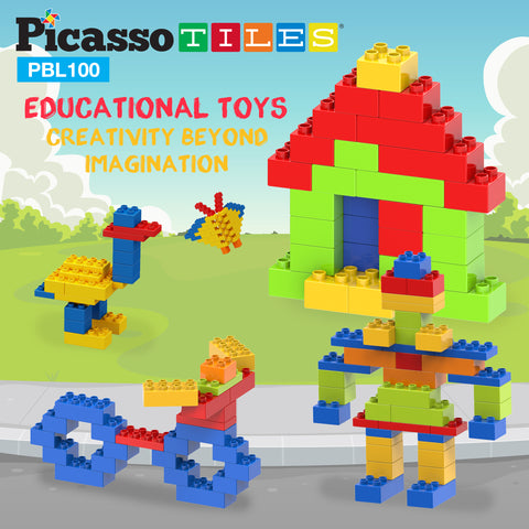 Image of PicassoTiles 100 Piece Large Color Vibrant Brick Building Block Kit PBL100