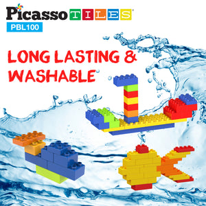PicassoTiles 100 Piece Large Color Vibrant Brick Building Block Kit PBL100