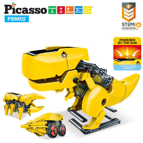 Image of PicassoTiles 3-in-1 STEM Kids Solar Powered Dinosaur Robot Science Kit PBM02