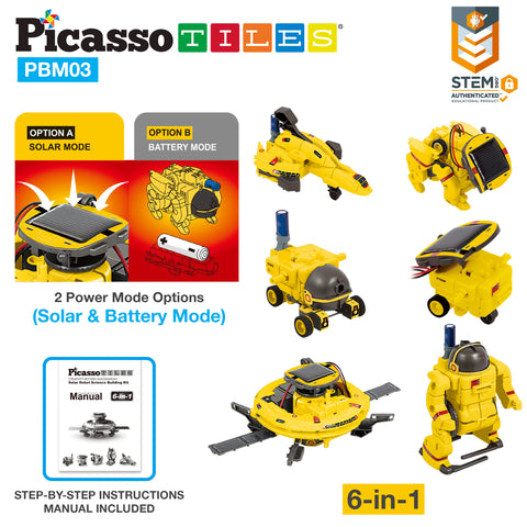 Image of PicassoTiles 6-in-1 STEM Kids Solar Powered UFO Robot Science Kit PBM03