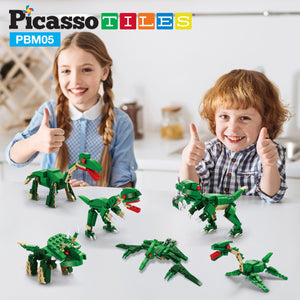 PicassoTiles 673 Piece 6-in-1 Grand Dinosaur Building Block Kit PBM05