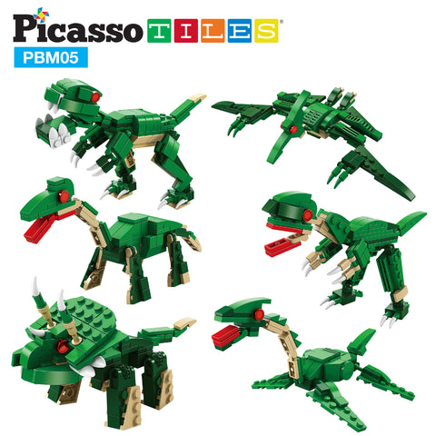 Image of PicassoTiles 673 Piece 6-in-1 Grand Dinosaur Building Block Kit PBM05