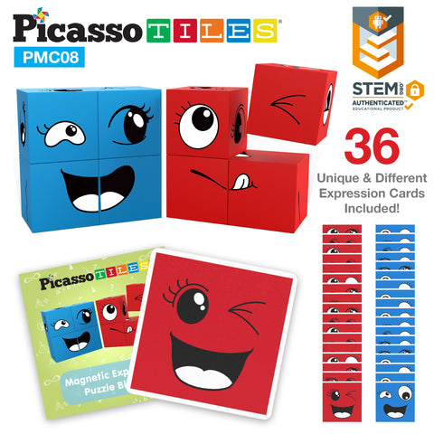 Image of PicassoTiles Mix and Match 8 Piece Magnetic Magic Puzzle Cube Set