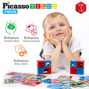 PicassoTiles Mix and Match 8 Piece Magnetic Emoticon Puzzle Cube Set PMC08