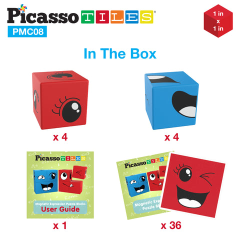 Image of PicassoTiles Mix and Match 8 Piece Magnetic Emoticon Puzzle Cube Set PMC08