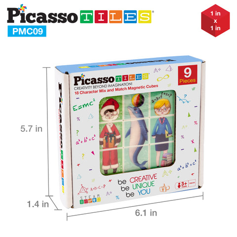 PicassoTiles Mix and Match 9 Piece Magnetic Magic Puzzle Cube Set PMC09