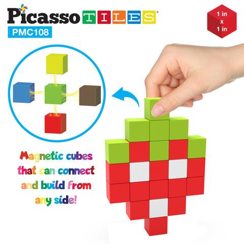 PicassoTiles Magnetic Puzzle Cubes 108 Pieces PMC108 with FREE Ideabook