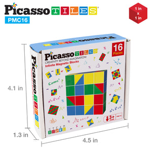 PicassoTiles Mix and Match 16 Piece Magnetic Puzzle Cube Set PMC16
