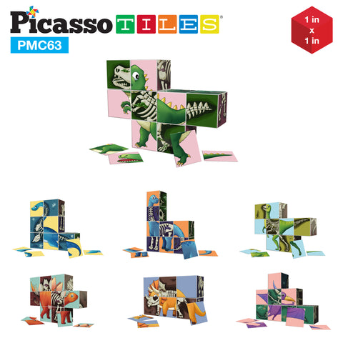Image of PicassoTiles 63 Piece Magnetic Puzzle Cube Sensory Toy Kit